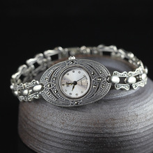 Hot Sale Women Silver Bracelet Watch S925 Real Silver Bracelet Watch Real Pure Silver Charms Bracelet Watches Real Silver Bangle