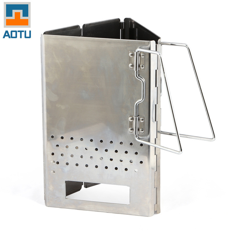 Stainless Steel Folding Point Carbon Furnace Stove Barbecue Portable Firelighters Folding Barrels Of Carbon Carbon Lead AT6373