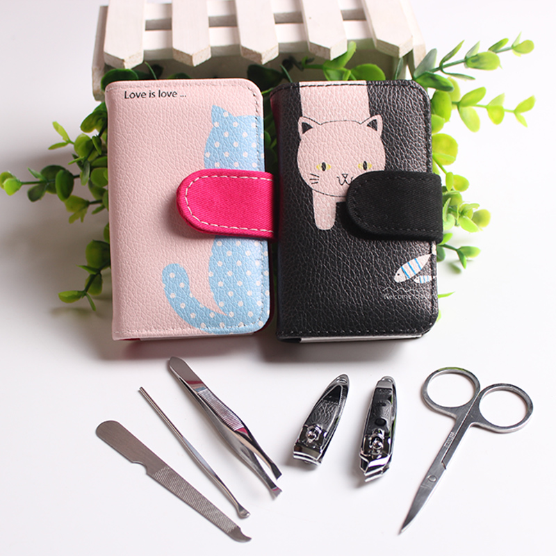 6pcs in 1 Portable Stainless steel Manicure Set Nail Art Care Pedicure Beauty Tools Nail Clipper Cutter Scissor Kit Gift