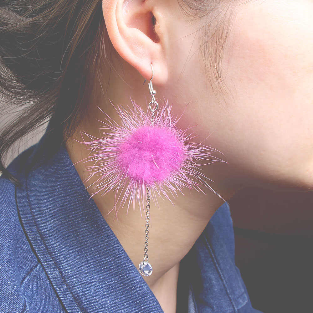 Cute Looking Women Pompom Drop Earrings Fur Ball Beads Chain Pendant Dangle Earring Pink Purple Furry Ear Drop Gift Brincos