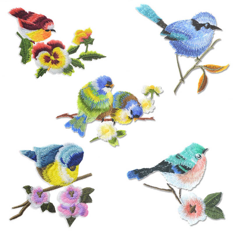 1pcs Lovely Bird Patches Sewing On Iron On Embroidered Applique Cute Fabric Patch Clothes Bags DIY Decoration Patches