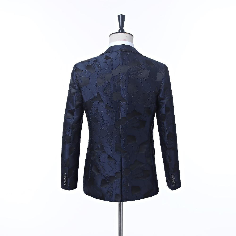 New men's dress suit jacket Navy pattern men's jacket cut lapel One button's grace banquet formal men's jacket suit custom - 3