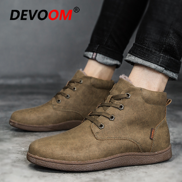 63f0f61f2f5d4 Hot Sale New 2018 Winter Boots Men Fashion Moccasin Shoes Men Leather Shoes  Solid Mens Boots Casual Warm Fur Snow Boot Plus Size