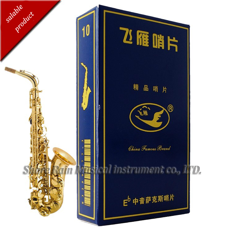 Gansos voando caixa azul Eb alto saxophone reed embalagem independente ternos iniciantes usar