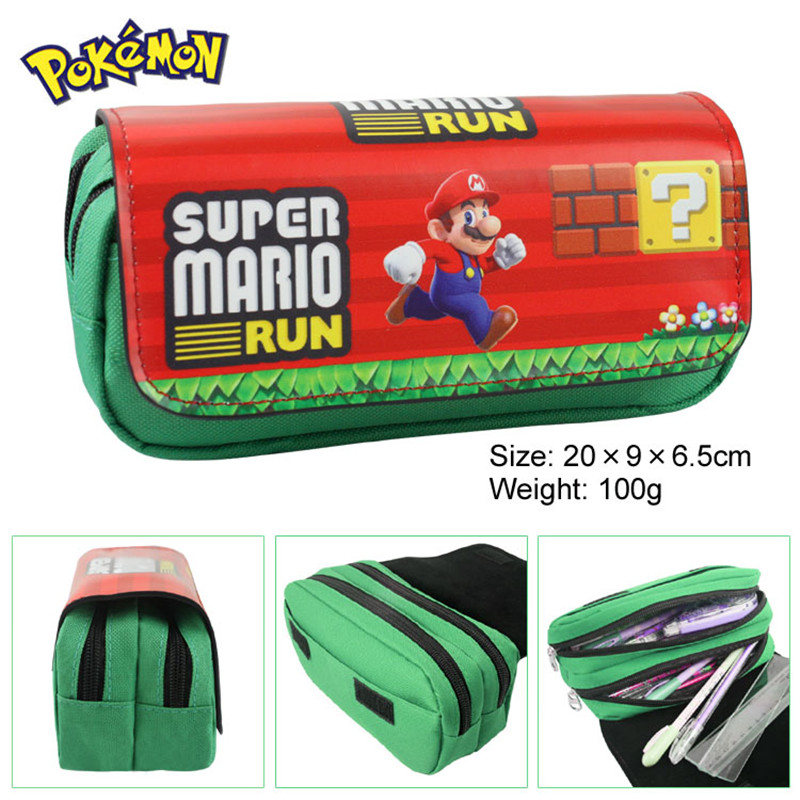 Wallet Stationery Anime pencil-Case School-Supplies Boys Double-Zippers Super-Mario-Bros