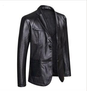 Image 2 - 10xl 8xl 6xl 5xl 4xl marca jaqueta de couro do plutônio dos homens outono inverno casual jaquetas sólidos roupas elásticas motocicleta outerwear