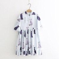 Japan Mori girl summer new sweet Medium and long section wild cat printing Waist dress woman