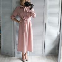 Pink Button Bandage Shirt Dress For Women 2018 Autumn Winter Long Sleeve Dress Vestidos Vintage Ukraine Christmas Dress