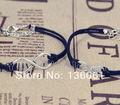 10pcs Fashion Jewelry Vintage Silvers  Infinity Couple Black Rope Wax Charms  Bracelets Bangle For Women Dress DIY P1981