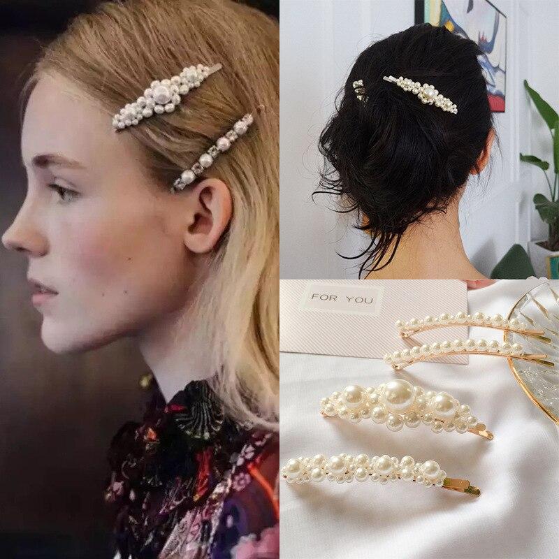 RE Fashion Pearls Hair Clip Barrettes For Women Pearl Hairpin Barrette Hair  Claws For Girls Headwear 36d5db38597e