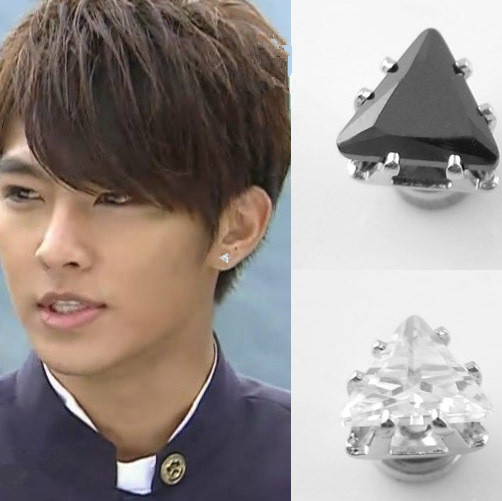 6mm Magnet Men Stud Earrings Hip Hop Black Fashion Cz Triangle Clip Without Piercing