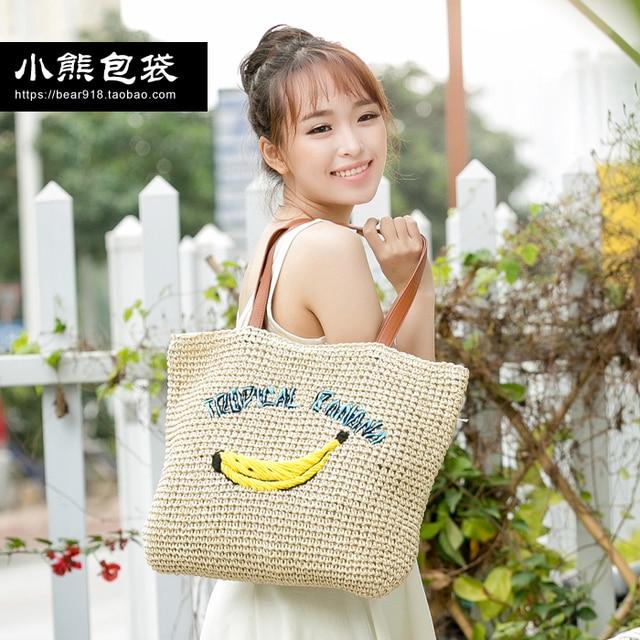Лето банан мешок соломы плечо сумки женщины отпуск стиль пляж женщины сумку