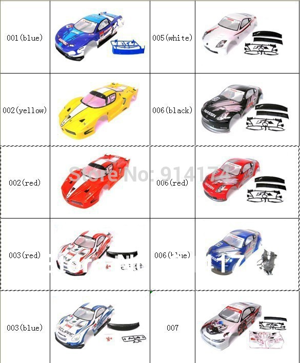 YUKALA 1/10 rc cáscara del coche para 1:10 R / C racing car 190mm henglong 2pcs / lot envío gratis