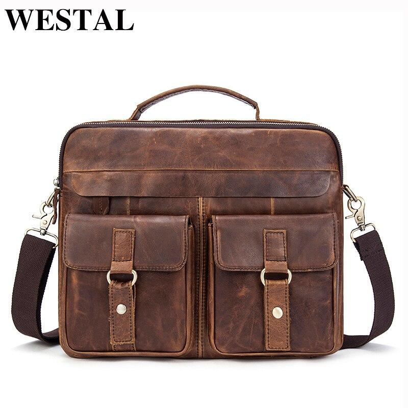 WESTAL Men Briefcase Genuine Leather Messenger