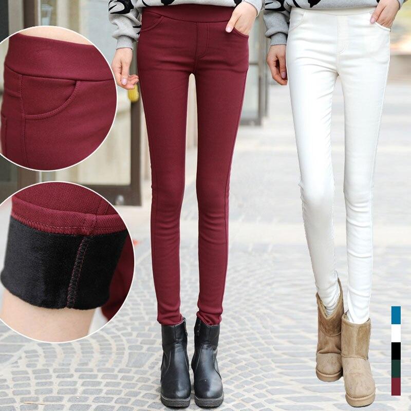 Plus Size Solid Fleece Liner Thicken Pencil Women Pants Velvet High Waist Female Leggings Trousers 2019 Fall Winter Lady Clothes