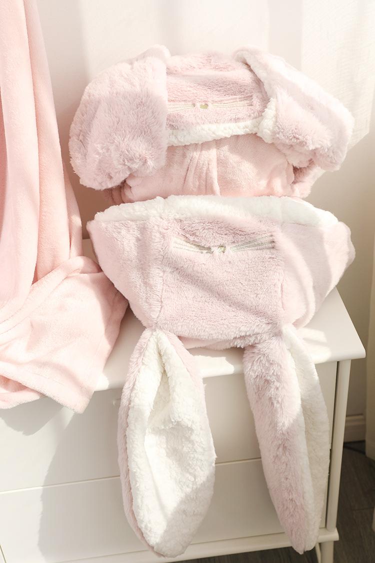 Cute Pink Comfy Blanket Sweatshirt Winter Warm Adults and Children Rabbit Ear Hooded Fleece Blanket Sleepwear Huge Bed Blankets 158