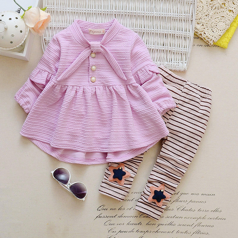 Newborn Baby Girls Clothes Cotton Tops T-shirt+ striped Pants 2pcs suit newborn baby boys girls clothing sets Children Clothing 2017 children clothes kids t shirts adventure time 100% cotton white t shirt for boys and girls tops baby tshirt free shipping
