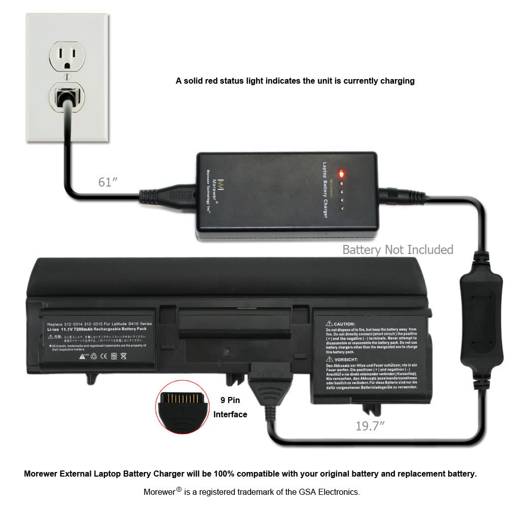 Morewer laptop battery charger for Dell Latitude D410 312 0314 312 ...