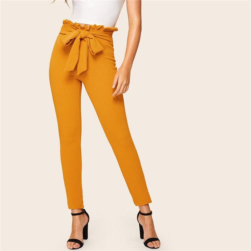 SHEIN Elegant Paperbag Waist Belted Detail Solid High Waist Pants Women Skinny Frill Trim Elastic Waist Spring Summer Pants 13