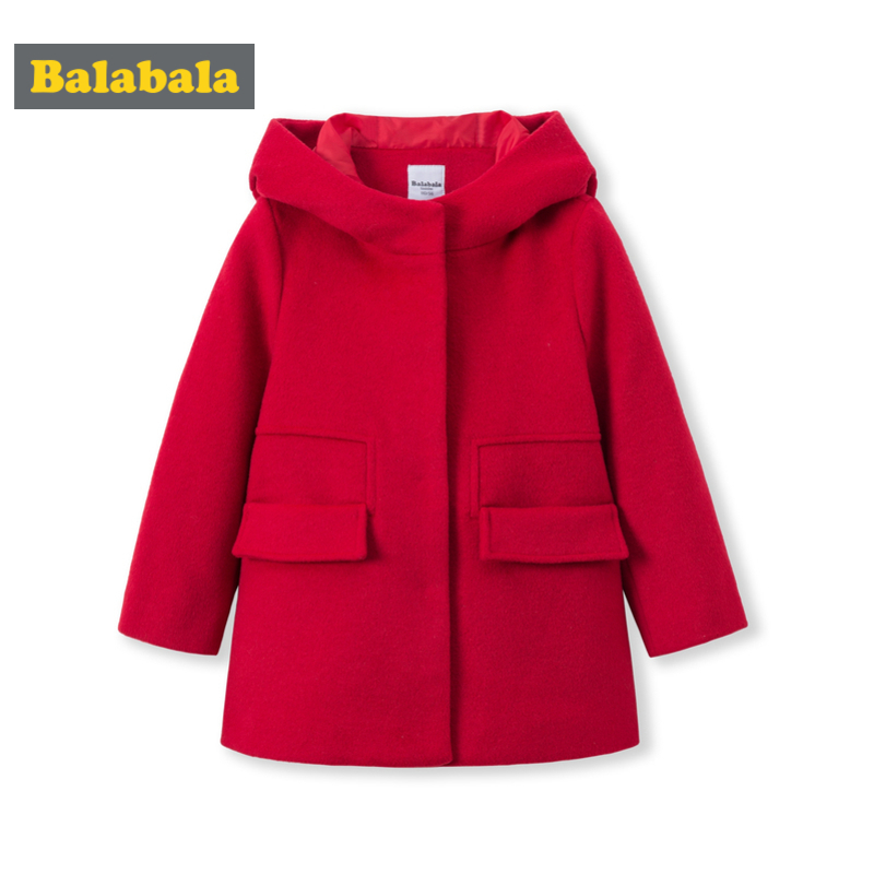 Balabala Toddler Girls Wool Blend Coat With Hood Kids Hooded Coat With Open Pocket In Silky Polyester Lined Front Snap Closure