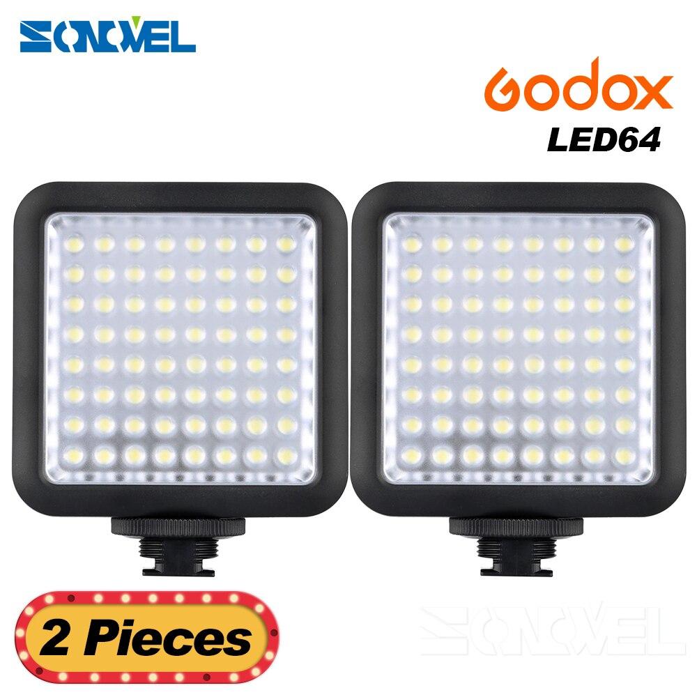 2 pièces Pro caméra LED lumières Godox LED 64 lampe à LED vidéo panneau macrophotographie pour Canon Nikon Sony caméscope caméra