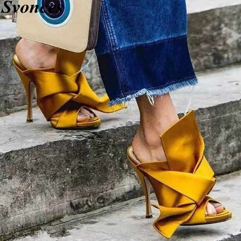 2f77f54e24c Detail Feedback Questions about Yellow Satin Big Knot Women Gladiator  Sandals Runway Sexy High Heel Slides Mules Silk High Quality Shoes Women  Zapatos Mujer ...