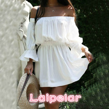 2018 Women Summer Dress Fashion Slash Neck Shoulder Off Backless Flare Sleeves Solid Color Sexy Dress for Female Laipelar лепидолит минерал камень в коробочке real minerals collection m814 34 0 1 кг