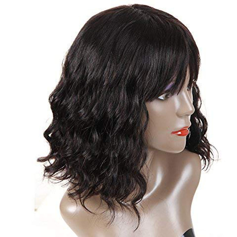 Curly Bob Wig Short Human Hair Wigs With Bangs 360 Lace Frontal Wig 150% Density Brazilian Lace Front Wigs For Women Black Remy-in 360 Lace Wigs from Hair Extensions & Wigs    3