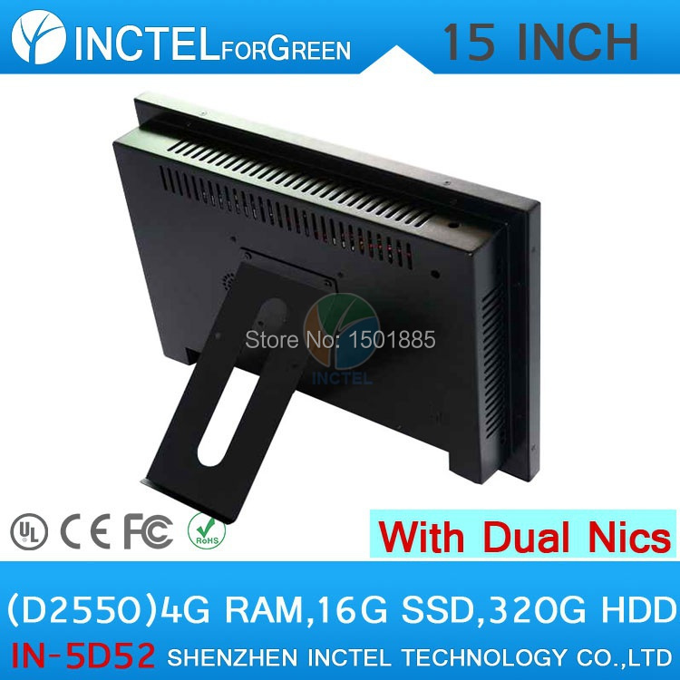Cheapest Industrial 15 inch All in One LED touchscreen PC with Dual 1000Mbps Nics 4G RAM