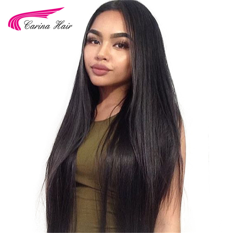 Carina Brazilian Straight Hair 8inch 26inch Lace Front Human Hair Wig With Baby Hair Pre Plucked
