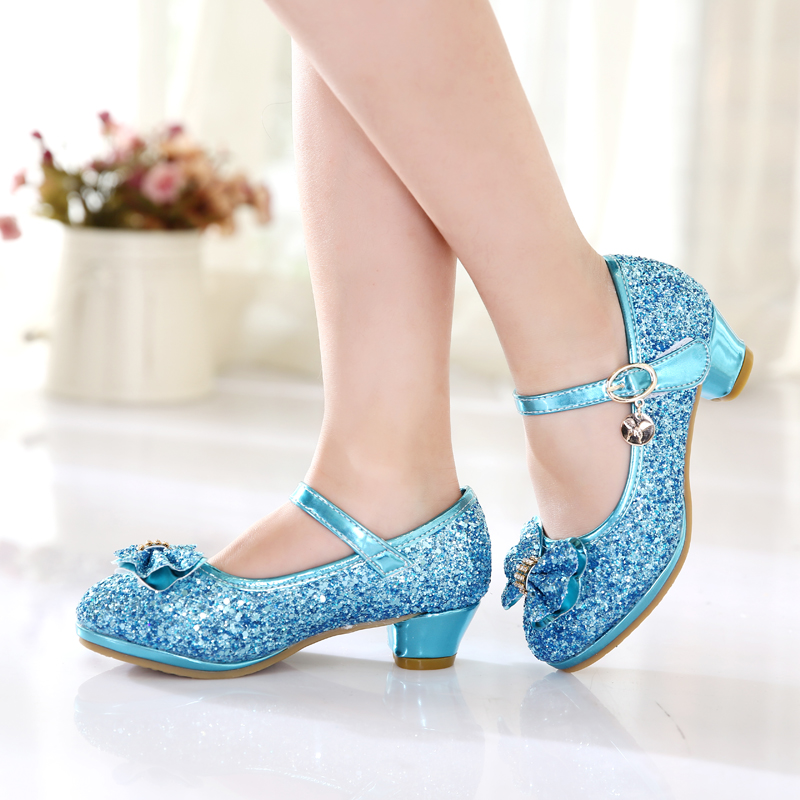 2018 Spring Children Leather Party Shoes High Heels Girls Wedding Sandals Kids Casual Wild New Bowknot Princess Single Shoes
