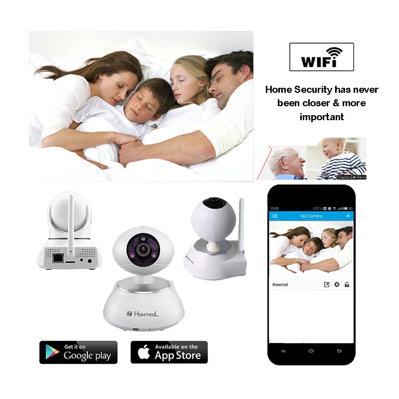 Homtrol 720P IP Wifi Camera Wireless Security Cameras Baby Monitors 2 Way Audio Motion Detection Built-in Microphone DDNS P2P