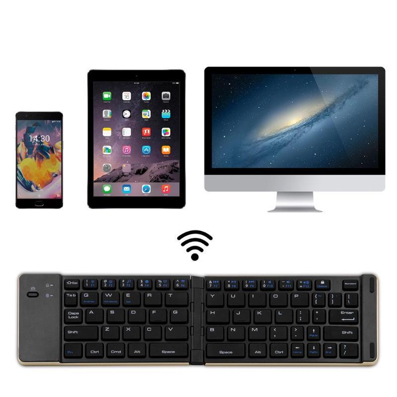 VODOOL Bluetooth Keyboard Aluminium Alloy Folding Wireless Keyboard for iOS Andr