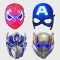 LED Puede emitir luz Máscaras Superhero Captain America Ant Man Spiderman Transformers Máscara Para Adultos Niños la Fiesta de Cumpleaños 2 unids/lote