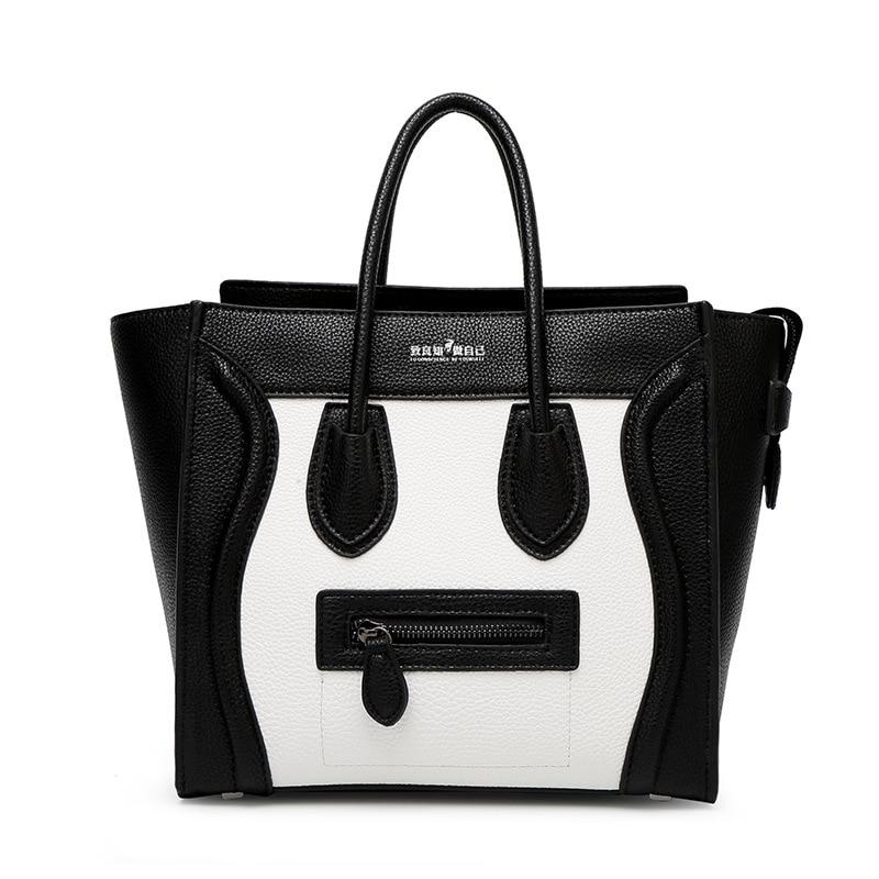 ФОТО Women Handbag Trapeze Smiley Leather Bags Handbags Women Famous Brands Shoulder Female Crossbody Tote Bags for Woman S0117