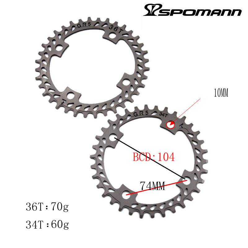 2017 GR5 mountain bike titanium alloy chain wheel 104bcd top mtb Chainring 34T/36T for 9/10 speed ultralight bicycle parts aluminum alloy bicycle crank chain wheel mountain bike inner bearing crank fluted disc mtb 104bcd bike part