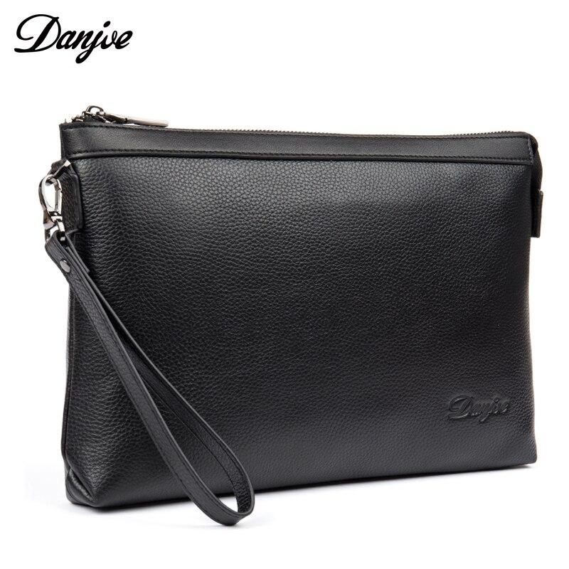 DANJUE cuir véritable hommes jour embrayages noir sac à main marque de mode 2018 nouveau Design plus grande capacité portefeuille homme sac à main téléphone sac