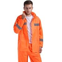 Fashion Adult Men Raincoat Rain Pants Reflective Stripe Waterproof Motorcycle Rain Jacket Yellow Coat Women