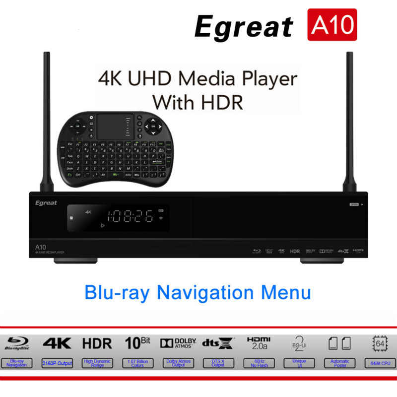Egreat A10 со сверхвысоким разрешением Ultra HD Media Player 3D 4 K Android 5,1 ТВ коробка AC Gigabit LAN HDR10 3D Blu-Ray ISO Dolby DTS Видон PK Himedia Q10 Pro
