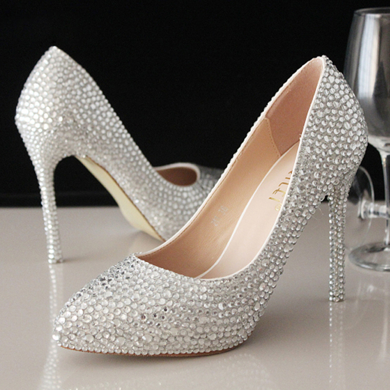 Sweet Rhinestone Beaded Lady Formal Shoes Women High Heels Beaded Bridal Evening Prom Party
