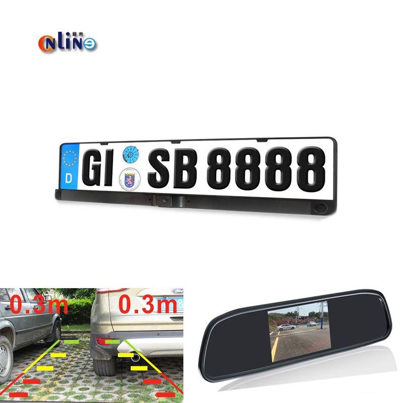 Online 4.3LCD Auto Parking Mirror Monitor + HD CCD European Russia License Plate Frame Car Rear View Camera With 2 Radar Sensor