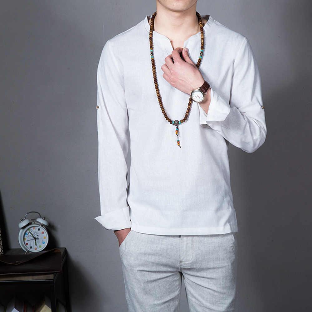 แขนยาวผู้ชายเสื้อยืดChinesesสไตล์คอจีนลำลองผ้าลินินหลวมเสื้อสีทึบชาติพันธุ์สไตล์ผู้ชายเสื้อผ้า