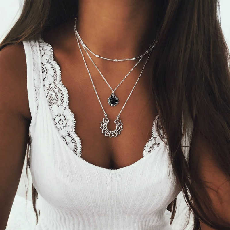 New Necklace Fashion Popular Personality Boho Retro Silver Multi-layer Women's Necklace National Hot Sale Jewelry Wholesale