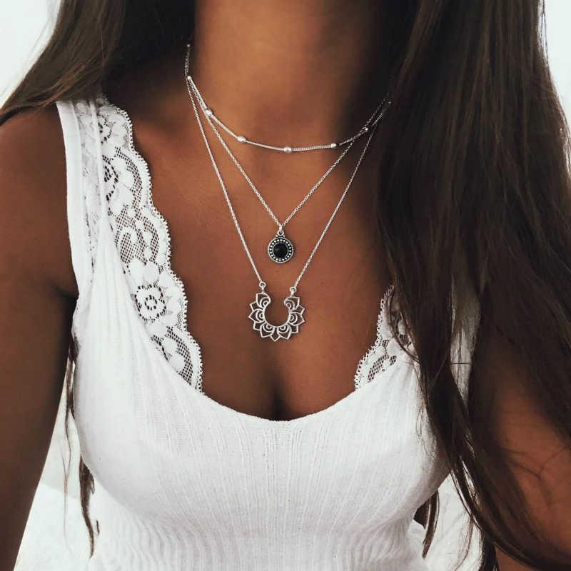 Nowy naszyjnik moda popularna osobowość Boho Retro srebrny wielowarstwowy damski naszyjnik narodowy gorąca sprzedaż biżuteria hurtowych