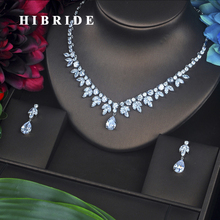 HIBRIDE Luxury Design Water Drop Pear Cut Necklace Pendant Earrings Cubic Zirconia Women Bridal Jewelry Sets