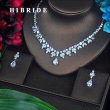 HIBRIDE Luxury Design Water Drop Pear Cut Necklace /Pendant Earrings Cubic Zirconia Women Bridal Jewelry Sets N-164