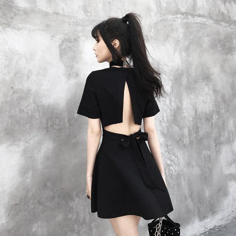 Fashion Summer Gothic Dresses For Women Backless Deep V Neck Sexy Vestidos Short Sleeve Black Dress