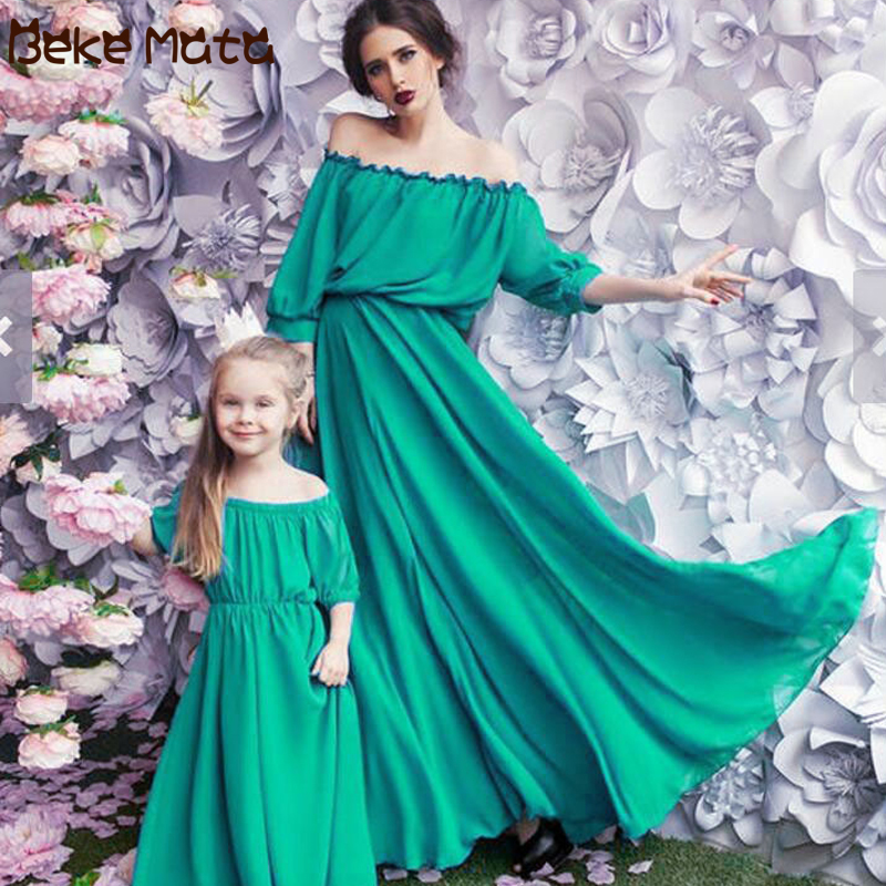 Matching Outfits Maxi-Dress Mom Family-Look Mum Baby Daughter Me And Chiffon Evening-Mommy
