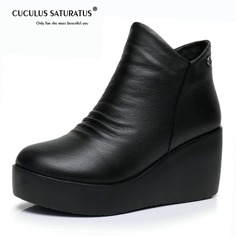 Cuculus 2018 New Autumn Winter Women Shoes Woman Genuine Leather Wedges Snow Boots Height Increasing Ankle Women Boots 1841 timetang 2017 new autumn winter women shoes woman genuine leather wedges snow boots height increasing ankle women boots size