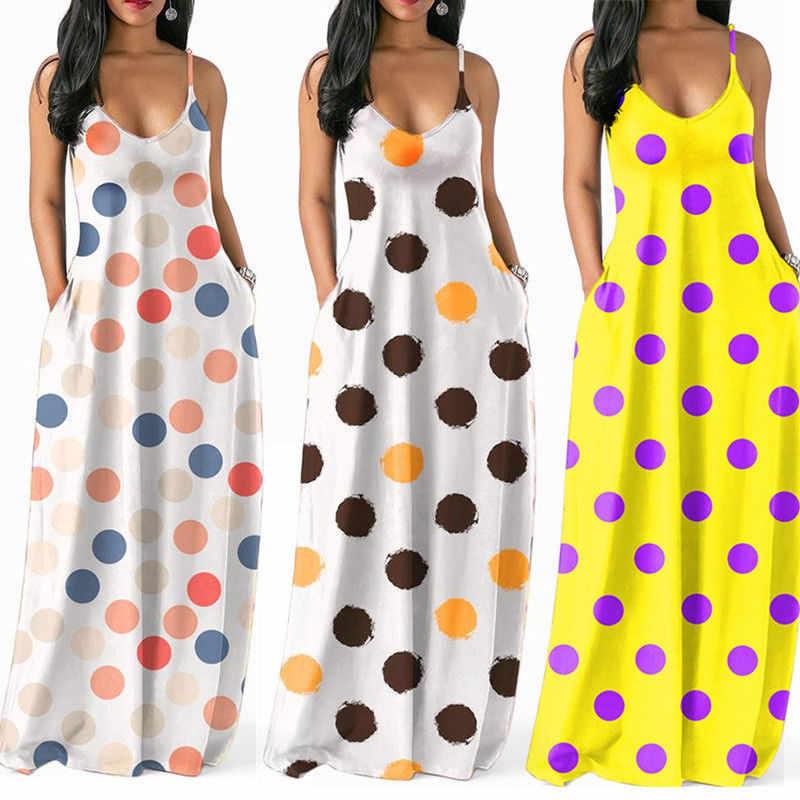 Phụ Nữ Nhiều Màu Chấm Bi In Hình Chữ V Đầm Mùa Hè Nữ Sling Không Tay Dài Đầm Maxi Đi Biển Đảng Thường Ngày Nghỉ Lễ Đầm